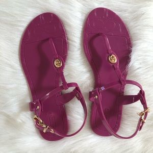 Coach Pier pink jelly sandals gold tone hardware 7